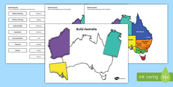 Build Australia States and Capital Cities Map Jigsaw Puzzle - australia, build, australian, states, capital cities, map, jigsaw, puzzle, activity
