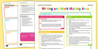 Writing and Mark Making Area Continuous Provision Plan Posters Reception FS2