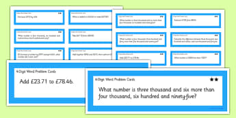 4-Digit Word Problems Cards - two step, 4 digit, word problems, word, problems, cards