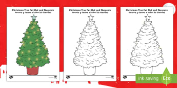 Christmas Tree Shape Cut Out and Decorate Activity English/Spanish - christmas, tree, cut-outs, christmas acitvities, christmas games, EAL