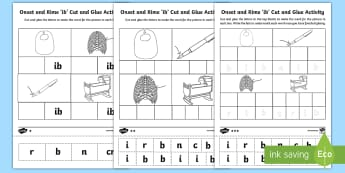 'ib' Onset and Rime Differentiated Activity Sheets-Australia - EYLF, Literacy, phonological awareness, onset and rime, Worksheets, cvc words, english, kindergarten