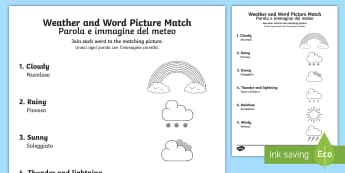 Weather Word and Picture Matching Worksheet / Activity Sheet English/Italian - season, match, sort, worksheet / activity sheet, EAL