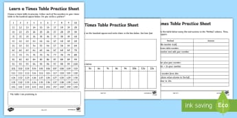 Learn a Times Table Practice Worksheet / Activity Sheet - Worksheet, Practising tables, learn tables, multiplication facts, instant recall, tables test