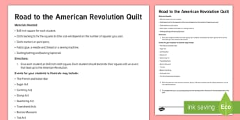 Road to the American Revolution Quilt Activity - American Revolution, Revolutionary War, French and Indian War, Sugar act, currency act, stamp act, q