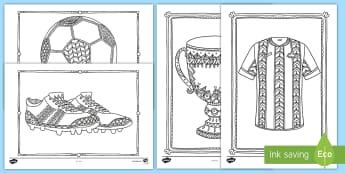 足球主题涂色练习 - 世界杯,球队,欧洲杯,球鞋,足球