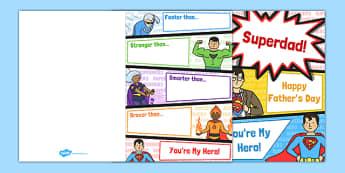 Father's Day Superheroes Card - australia, fathers day, superhero