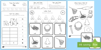 Letter N Activity Pack - Alphabet Packets, Letter Formation, Letter Identification, Beginning Sounds, Letter N, Handwriting,