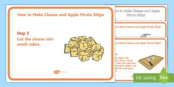 Cheese and Apple Pirate Ships Visual Aid - food technology, cooking, independent learning, life skills, SEND