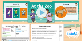 Twinkl Move - Y1 Gymnastics: Animals Lesson 3 - At The Zoo - KS1, Key Stage 1, Year 1, Y1, PE, Physical Education, Exercise, Sport, Gymnastics, Gym, Travel, Skip