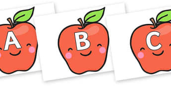 A-Z Alphabet on Cute Smiley Apple - A-Z, A4, display, Alphabet frieze, Display letters, Letter posters, A-Z letters, Alphabet flashcards