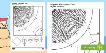 Simple Origami Christmas Tree Paper Craft English/Afrikaans - December, celebrate, fold, make, creative, Desember, kreatief, EAL