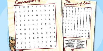 The Conversion of Saul differentiated Wordsearch - activity, road to damascus