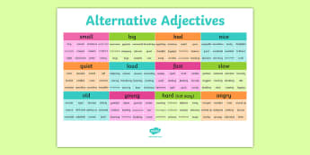 Alternative Adjectives Vocabulary Grid - adjectives, describing, descriptions, descriptive, composition, composing, writing, editing, improving, word mat, vocabulary, exciting, ks2, key stage 2, literacy, english