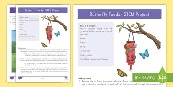 Butterfly Feeder STEM Craft Instructions - Butterfly STEM, insects, Spring, Summer, Recycle, Reuse, Earth Day