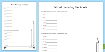 Rounding Decimals Mixed Worksheet / Activity Sheet - rounding, decimals, tenths, hundredths, thousandths, place value, 5th grade
