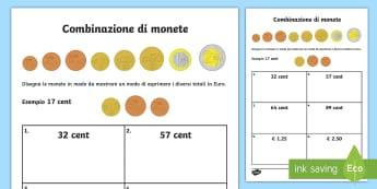 Combinazione di monete in euro Attività - monete, banconote, matematica, calcoli, contare, italiano, italian, materiale, scolastico,Spanish