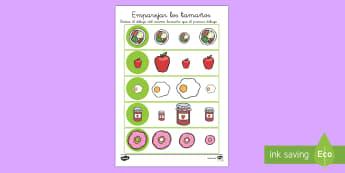 Ficha de emparejar tamaños: La comida - pequeño, mediano, grande, comer bien, saludable, sano, dieta, alimentación, Spanish