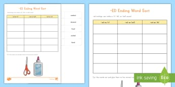 -ed Ending Word Sorting Worksheet / Activity Sheet - Ending sounds, suffix, reading, Language, Reading accuracy, Foundational skills
