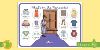 Póster: La ropa Inglés - clothes, armario, wardrobe, vocabulario, Spanish-translation
