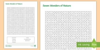 Seven Wonders of Nature Word Search Activity Sheet - Seven Wonders, Word search, Worksheet
