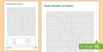 Seven Wonders of Nature Word Search Worksheet / Activity Sheet - Seven Wonders, Word search, Worksheet