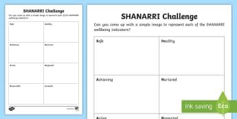 SHANARRI Challenge Activity - CfE, Safe, healthy, Achieving, nurtured, active, responsible, respected, included., scotland, scotti