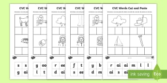 Phase 3 to 5 CVC Words Cut and Paste Activity - phase 3, Phase 4, Phase 5, cvc, CVC, words, cut, paste,  cvc, phase 3, cvc wods, pase 5