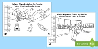 Winter Olympics Colour by Number Colouring Pages English/Afrikaans - medals, games, athletics, team, countries, lande, medaljes, EAL