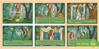 Blodeuwedd Maths Challenge Cards - chwedl, legend, flowers, blodau, mesur, measure, subtract, tynnu, difference, gwahaniaeth