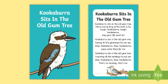 Kookaburra Sits in the Old Gum Tree Nursery Rhyme IKEA Tolsby Frame - australia, english, poetry, birds