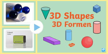 3D Shapes PowerPoint English/German - shapes, maths, geometry, EAL, German, English-German,,German-translation