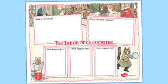 The Tailor of Gloucester Book Review Writing Frame - tailor, gloucester