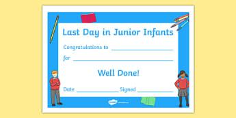 Last Day in Junior Infants Award Certificate - last day, transition, junior, infants, award, certificate