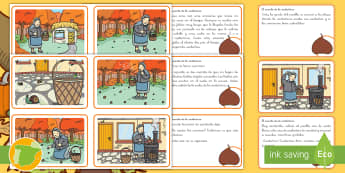 La castañera Tarjetas de secuenciar de cuento - otoño, fiestas, tradiciones, castañas, castañera