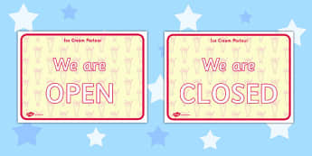 Ice Cream Parlour Open Closed Signs - ice cream parlour, open, closed