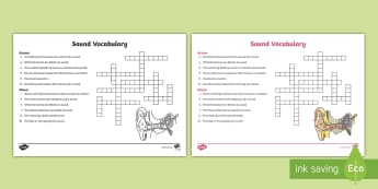 Sound Crossword - Sound, Physical Science, Physics, Sound Waves, Wavelength, Frequency, Pitch, Vibration, Amplitude, I
