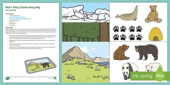 Bear Story Scenes Busy Bag Resource Pack for Parents - Polar Bear, Brown Bear, Grizzly Bear, Animals, Science and Investigation, places