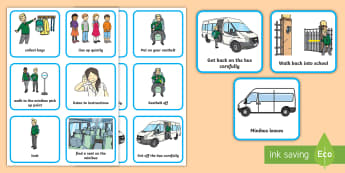SEN Using the Minibus Visual  Timetable - Minibus visual timetable, special educational needs, special school, mainstream school, off site vis