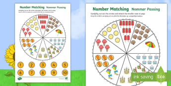 Number Matching Pegs Summer Activity English/Afrikaans - seasons, weather, holiday, math, count, seisoene, weer, EAL