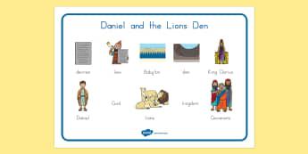 Daniel and the Lion's Den Word Mat - usa, america, Daniel and the Lions, Daniel, Lions, lion pit, word mat, writing aid, mat, Babylon, King Darius, governors, God, pray, den, bible story, bible