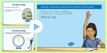 Word Families PowerPoint - Powerpoint, word families,  root words, word building, suffix, prefix, grammar, spelling