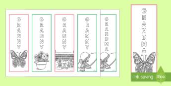 Granny/Grandma  Bookmarks - Grandparent's Day Pack, grandparents, granny, grandma, nan, nanny, nannan, relatives, family, relat