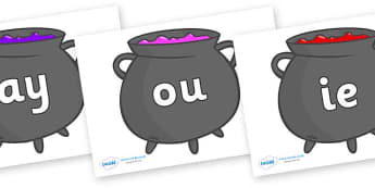 Phase 5 Phonemes on Cauldrons (Plain) - Phonemes, phoneme, Phase 5, Phase five, Foundation, Literacy, Letters and Sounds, DfES, display