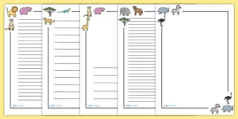 Safari Page Borders - Safari, Page border, border, writing Borders, lion, cheetah, puma, jaguar, rhino, hippo, elephant, giraffe, antelope