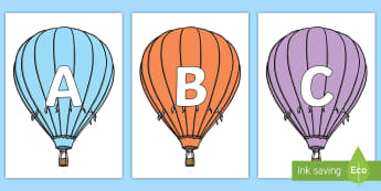 A-Z Alphabet on Hot Air Balloons (Stripes) - A-Z, A4, display, Alphabet frieze, Display letters, Letter posters, A-Z letters, Alphabet flashcards