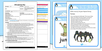 Penguin Ice Jump EYFS Adult Input Plan and Resource Pack - EYFS, planning, early years, winter, animals, snow, polar regions, antarctic, CL, PD, PE, Communication and Language, Physical Development.