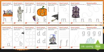 Halloween Pencil Control Activity Sheets English/Romanian - Pencil control, halloween, control, motor skills, trace, EAL, worksheet
