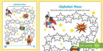 Superhero Themed Alphabet Maze Worksheet / Activity Sheet - Alphabet Maze Worksheet - a-z, alphabet, a-z maze, maze, game, aplhabet, aphabet, alphablet, alpahab