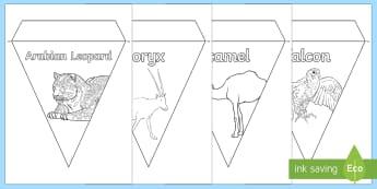 Arabian Animals Colouring Display Bunting - Science: Living World, Arabian animals, desert animals, UAE, classroom display, bunting, colouring,