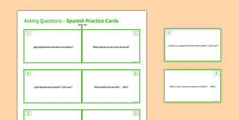 General Conversation My Studies Question Double Sided Cards Spanish/English